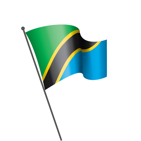 Tanzania national flag, vector illustration on a white background 向量圖像