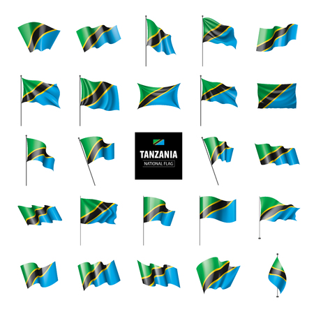 Tanzania national flag, vector illustration on a white background 版權商用圖片