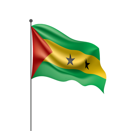 Sao Tome and Principe national flag, vector illustration on a white background Illusztráció