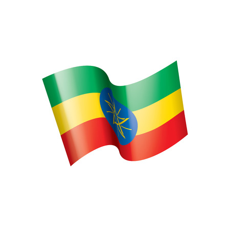 Ethiopia national flag, vector illustration on a white background
