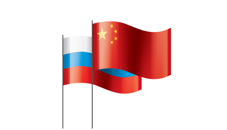 Russia and China national flags. Vector illustration on white background 矢量图像
