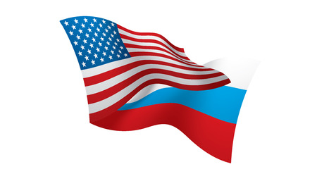 Russia and USA national flags. Vector illustration.