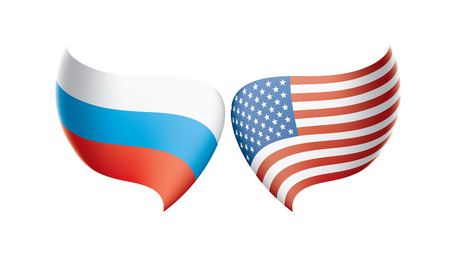Russia and USA national flags. Vector illustration. Illustration