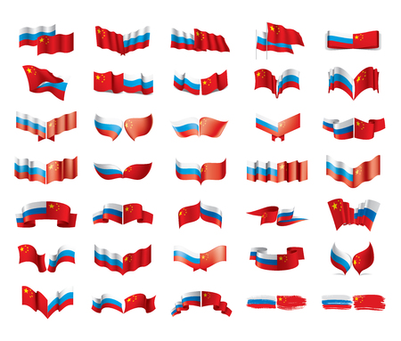 Russia and China national flags. Vector illustration on white background Illustration