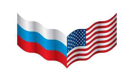 Russia and USA national flags. Vector illustration. Illusztráció