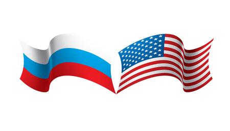 Banderas nacionales de Rusia y Estados Unidos. Ilustración vectorial sobre fondo blanco