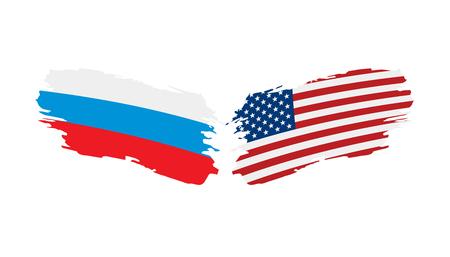 Drapeaux nationaux de la Russie et des États-Unis. Illustration vectorielle.