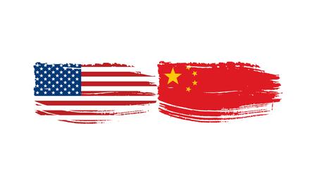 banderas de Estados Unidos y China. Ilustración vectorial sobre fondo blanco Ilustración de vector