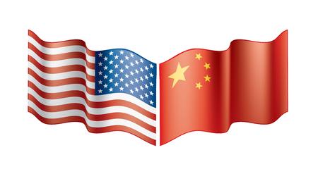 banderas de Estados Unidos y China. Ilustración vectorial sobre fondo blanco