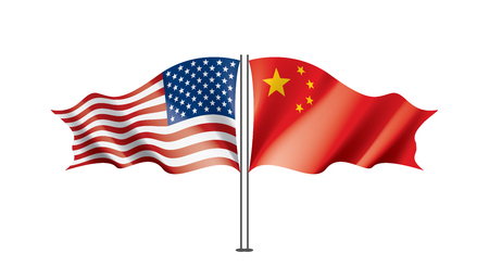 usa and China national flags. Vector illustration on white background