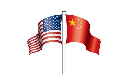banderas nacionales de Estados Unidos y China. Ilustración vectorial sobre fondo blanco