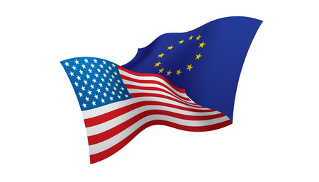 European Union and American flags. Vector illustration on white background