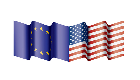 European Union and American flags. Vector illustration on white background Illustration