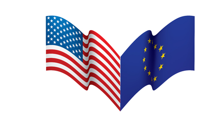 European Union and American flags. Vector illustration on white background 일러스트