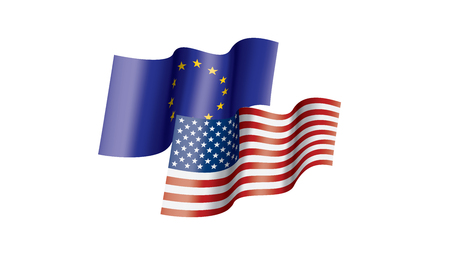 European Union and American flags. Vector illustration on white background 向量圖像