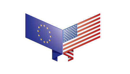 European Union and American flags. Vector illustration on white background Иллюстрация