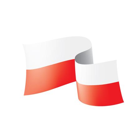 Drapeau de la Pologne, illustration vectorielle sur fond blanc.