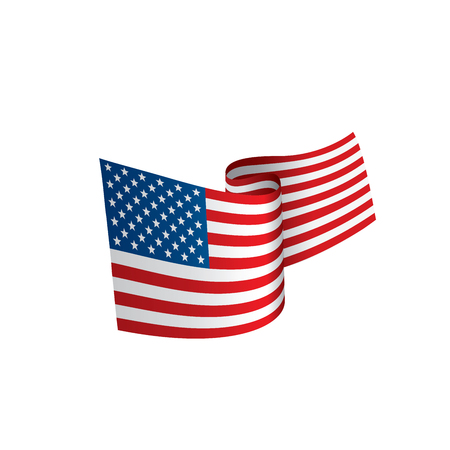 USA Flag isolated on a white background, vector illustration.
