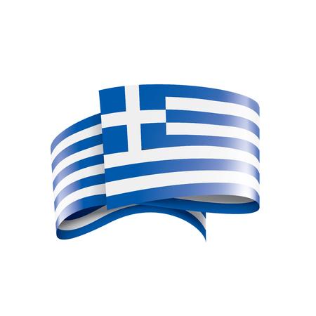 Greece flag, vector illustration on a white background
