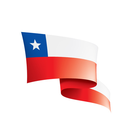Chile flag, vector illustration on a white background.