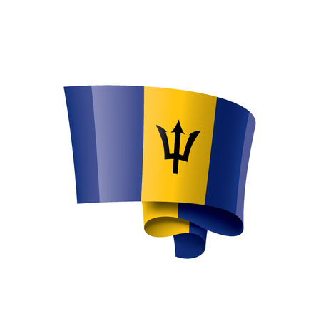 Barbados flag, vector illustration on a white background