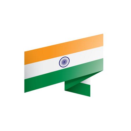 India flag, vector illustration on a white background Vettoriali