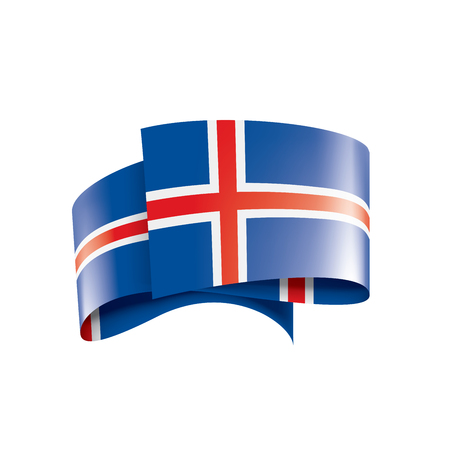 Iceland national flag, vector illustration on a white background  イラスト・ベクター素材