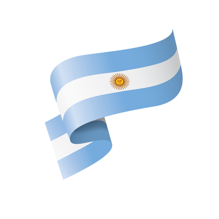 Argentinien-Nationalflagge, Vektorillustration auf einem weißen Hintergrund