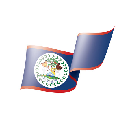 Belize flag, vector illustration on a white background