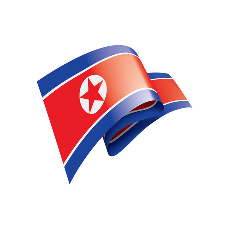 North Korea national flag, vector illustration on a white background Stock Illustratie