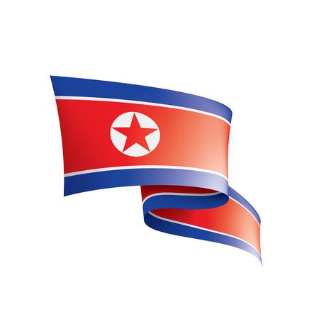 North Korea national flag, vector illustration on a white background