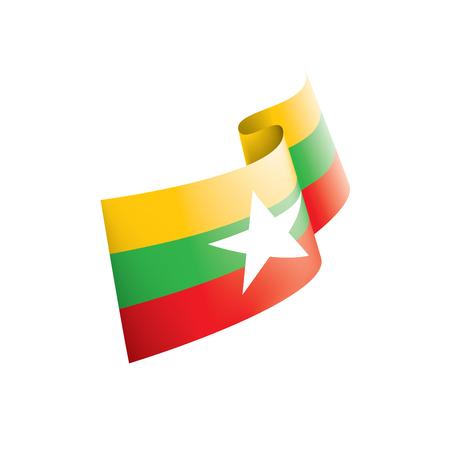 ミャンマー国旗、白い背景にベクトルイラスト