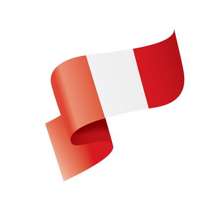 Bandera nacional de Perú, ilustración vectorial sobre un fondo blanco. Ilustración de vector