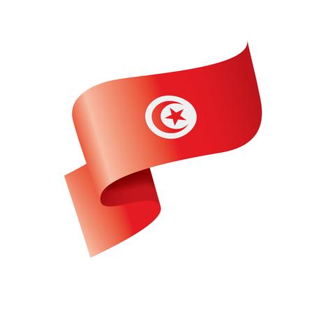 Tunisia national flag, vector illustration on a white background Ilustração Vetorial