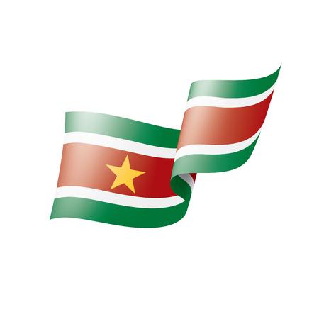 Suriname national flag, vector illustration on a white background