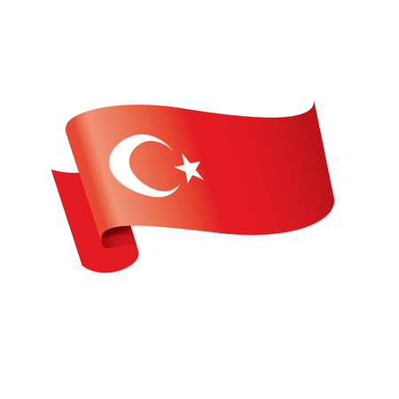 Turkey national flag, vector illustration on a white background