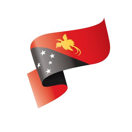Drapeau national de Papouasie-Nouvelle-Guinée, illustration vectorielle sur fond blanc