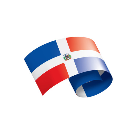 Dominicana national flag, vector illustration on a white background Banco de Imagens - 110429501