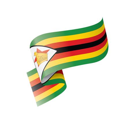 Drapeau national du Zimbabwe, illustration vectorielle sur fond blanc Vecteurs