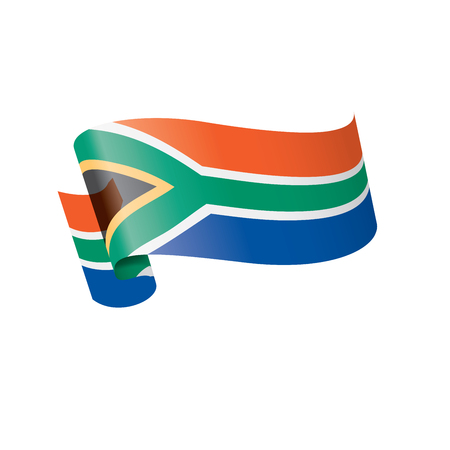 south africa national flag, vector illustration on a white background