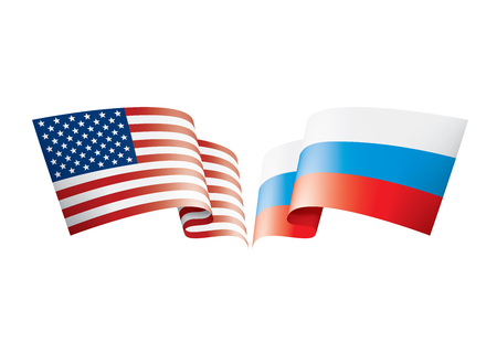 Russia and USA national flags. Vector illustration on white background