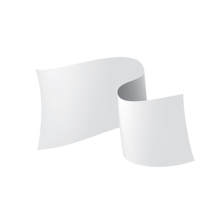 Waving the white flag on a white background. Vector illustration Stock Illustratie