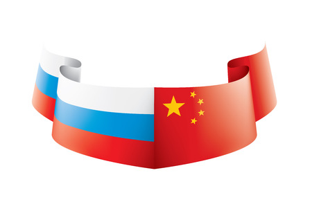 Russia and China national flags. Vector illustration on white background Vectores