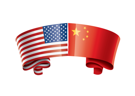 usa and China national flags. Vector illustration on white background Ilustración de vector