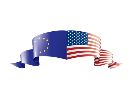 European Union and American flags. Vector illustration on white background Vectores