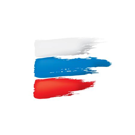 Russland-Flagge, Vektorillustration auf einem weißen Hintergrund.
