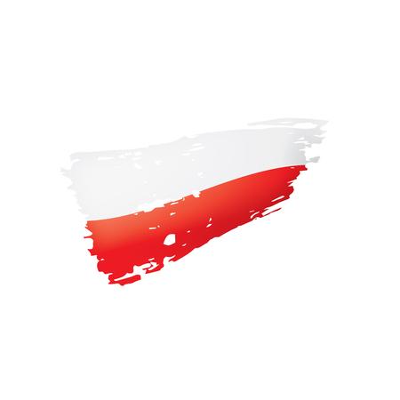 Drapeau de la Pologne, illustration vectorielle sur fond blanc. Vecteurs