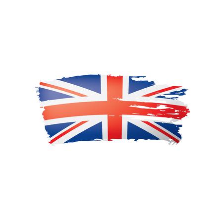 Bandera de Reino Unido, ilustración vectorial sobre un fondo blanco.
