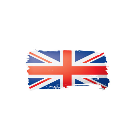 United Kingdom flag, vector illustration on a white background.