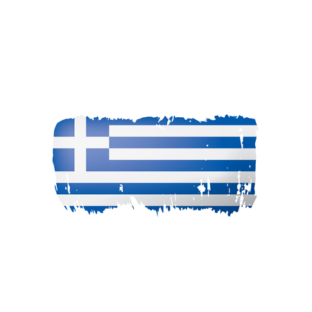 Greece flag, vector illustration on a white background. Çizim